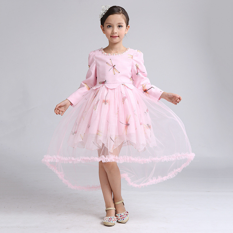 Nuevo modelo vestido tul Rosa flor cordón niños vestidos con arco ...