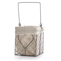 Versatile Square Metal Wire Storage Basket With Natural Linen Liner and Heart Accent in Middle for Home Decor and Organizing