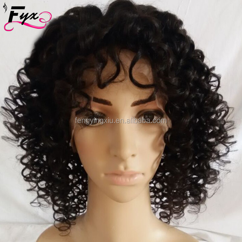 Afro Kinky Curly Wig Malaysian Fashion Newest short kinky hair lace wig Any color human virgin kinky curly hair for Africa women