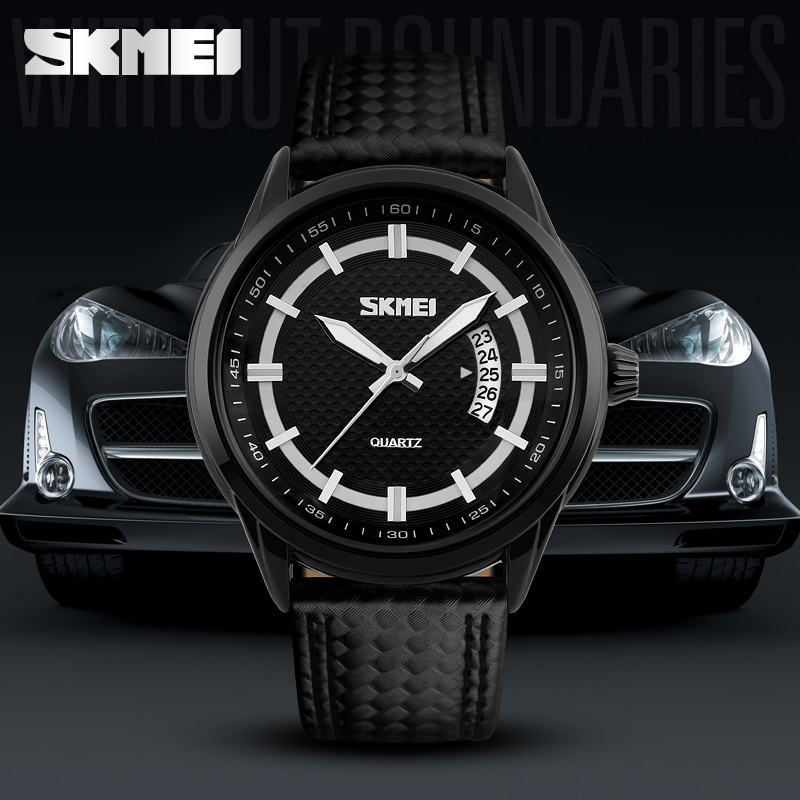 Skmei newest model 9116 Genuine Leather watch high quality low moq luxury watch