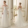 WD5247 Lace straps beach a line high waist plain sweep train low price wedding gowns tulle new wedding dress 2015