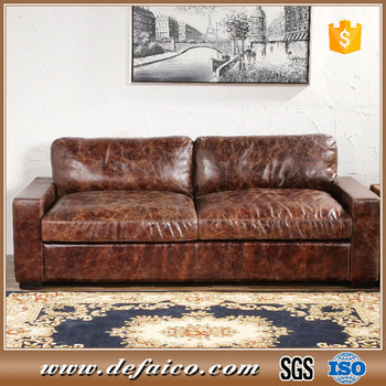 Low Back Maxwell Leather Sofa With Squared Off Seat And Cushions