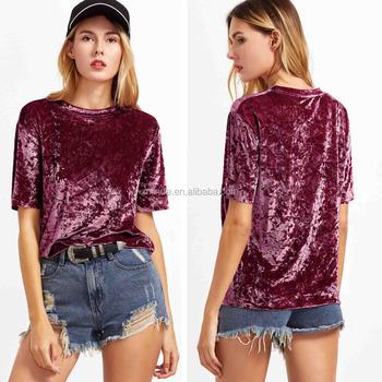 61d592144 tshirt custom t shirt Burgundy Short Sleeve Crushed Velvet Fabric T-shirt