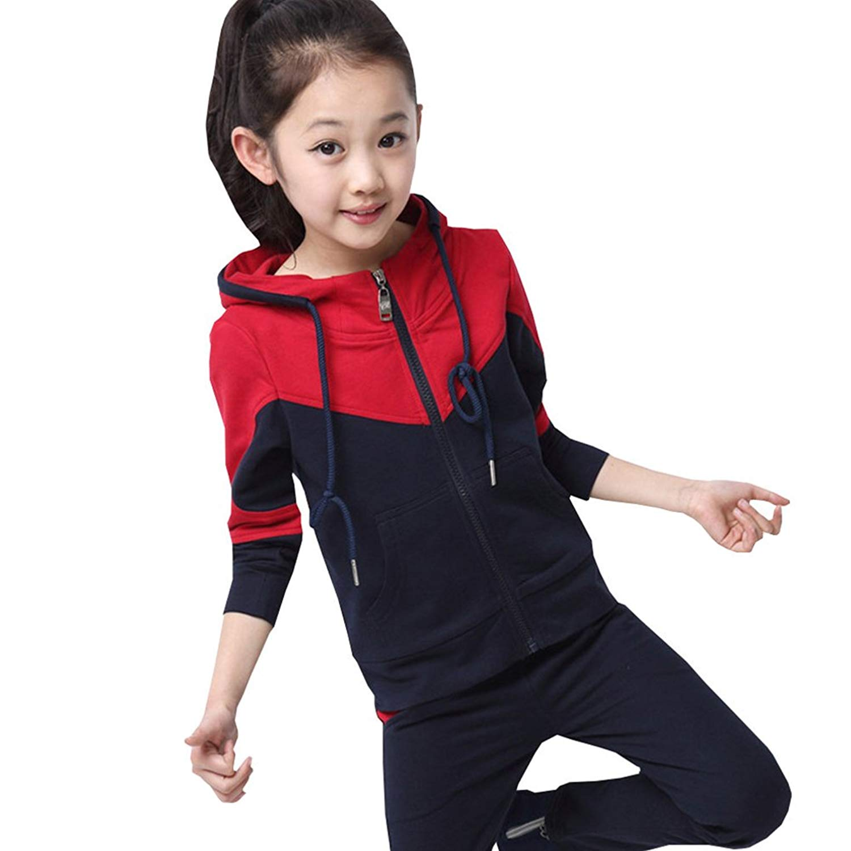99caeefe Get Quotations · CH&Q Kids Boys Girls Unisex Plain Casual Tracksuit Sweat  Pants & Hoodie Set Gym School
