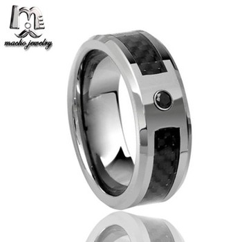 012f113e220a1 Carbon Fiber Inlay 8mm Tungsten Wedding Ring Cubic Zirconia for Men  Jewelry, View tungsten ring, Macho Product Details from Shenzhen Macho  Technology ...