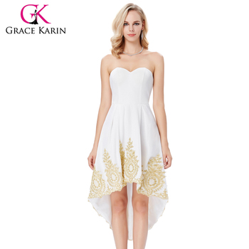 Grace Karin Strapless Sweetheart High-Low Appliqued Flannelette White Homecoming Dress GK000136-2