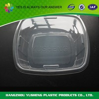 Plastic clear disposable hinged clamshell catering food packaging containers