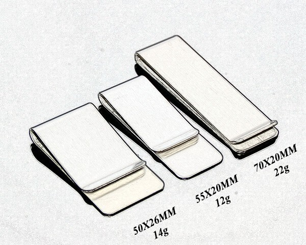 High Polish Stainless Steel Silver Color Promotion Various Styles Slim Pocket Cash Clip Blank Cheap Metal Wholesale Money Clips
