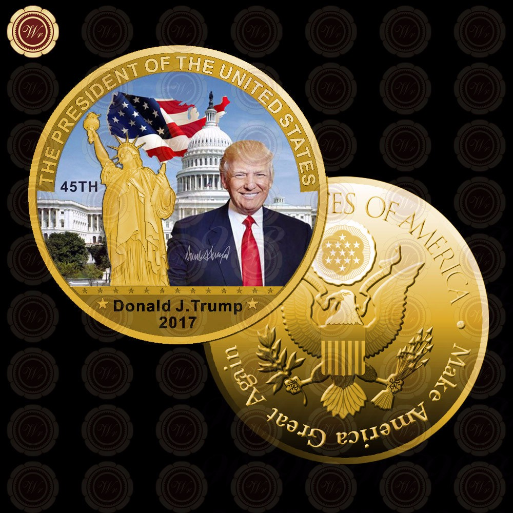 Trump Taxes Wiki: Wr 24k Gold Plated Coin American President Gold Coin