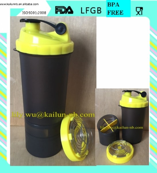 Custom bpa free plastic protein shaker bottle with spider spring from KaiLun manufacturer