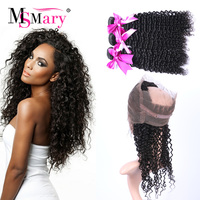 7A Deep Wave Curly Brazilian Virgin Hair With Frontal Closure Cheap 360 Lace Frontal Closure