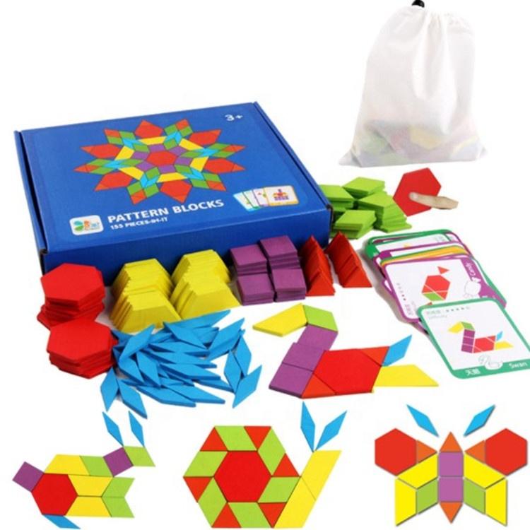 Kinder 155pcs Kreative Holz Muster Blöcke Spielzeug Montessori Pädagogisches Spielzeug Für Frühe Bildung