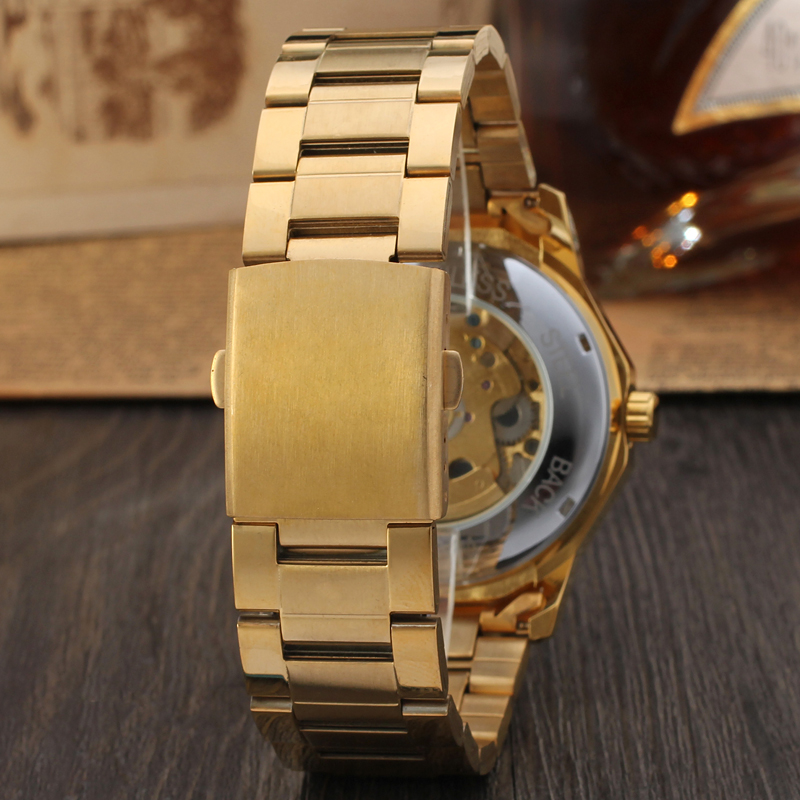 Luxury Big Dial Winner Waterproof Custom Gold Black Brand Automatic Skeleton Bracelet Men Watches