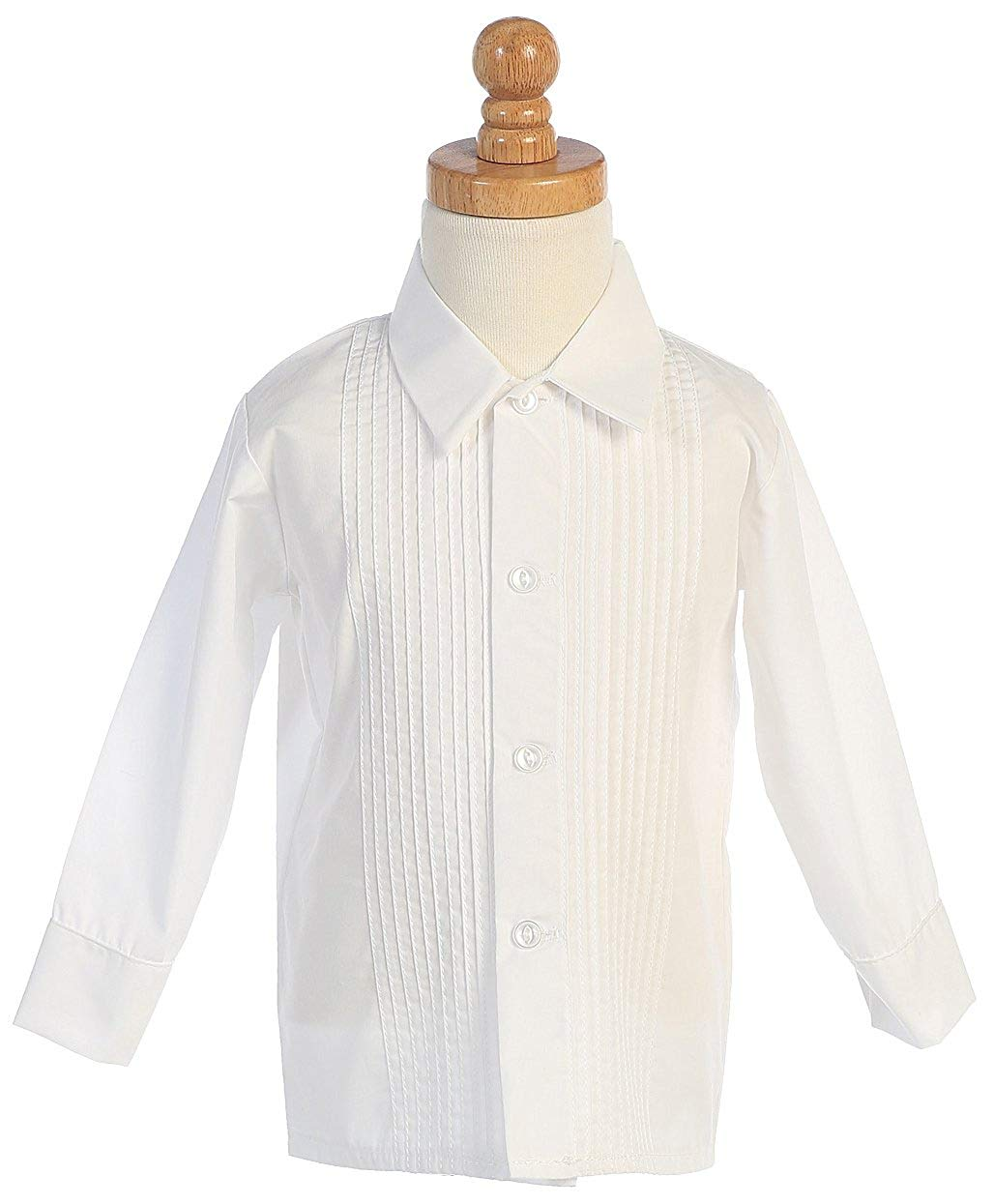Boys White or Ivory Long Sleeve Pleat Child's Tuxedo Dress Shirt - Baby to Teen