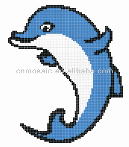 Dolphin mosaic mural glass pattern for pool center