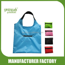 Foldable shopping bag with zipper pocket