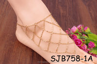 2016 fashion gold net ladies slave anklet with toe ring designs