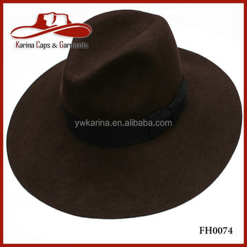 b18a8373a37e8 Classical Men Wool Felt Floppy Fedora Cap Coffee Wool Felt Panama ...