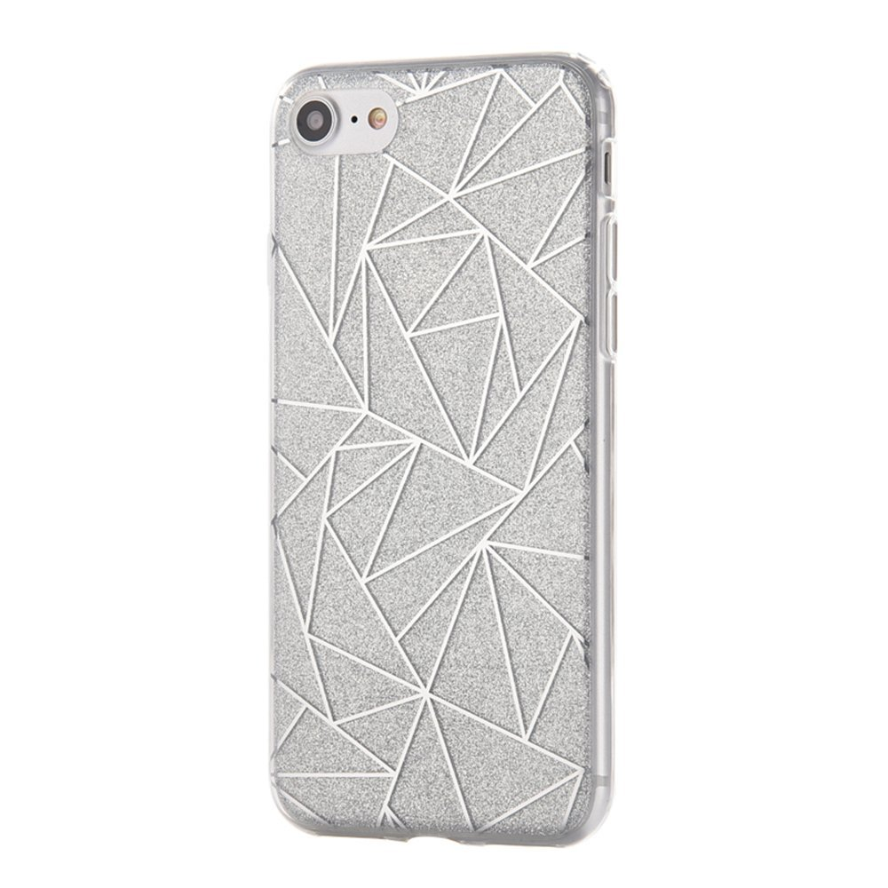 iPhone 7 Case, KAMII Shiny Sparkling Glitter Style [Scratch Resistant] TPU Bumber & Hard PC Shockproof Protection Case Cover for Apple iPhone 7 4.7 Inch (Silver)