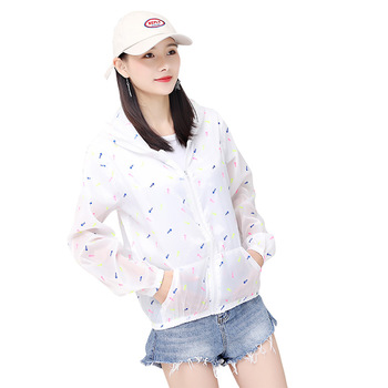 Summer ladies sun protection clothing Thin UV protection quick-drying printing clothing Skin clothing jacket AG636