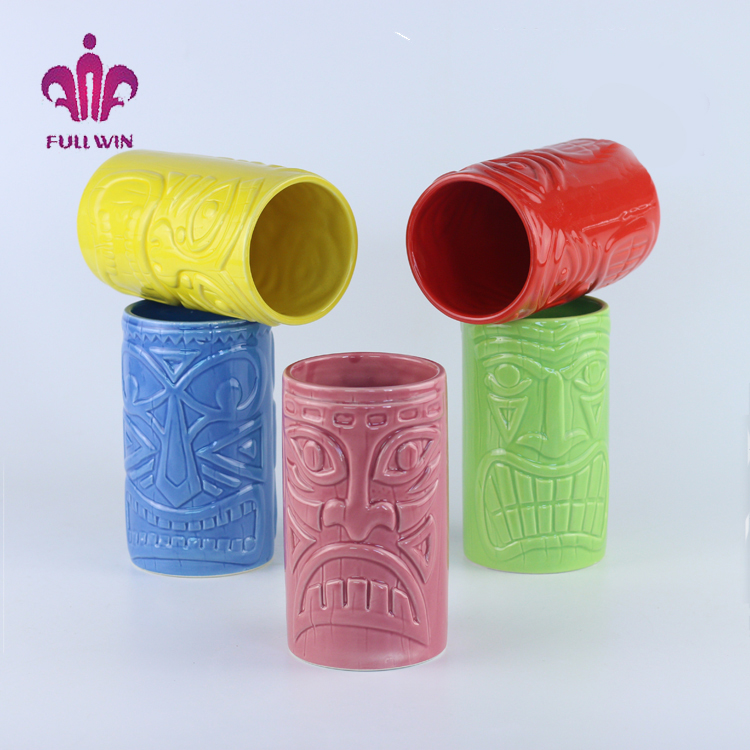 Hand Painted Embossed Solid Color Ceramic Tiki Tumbler Mug