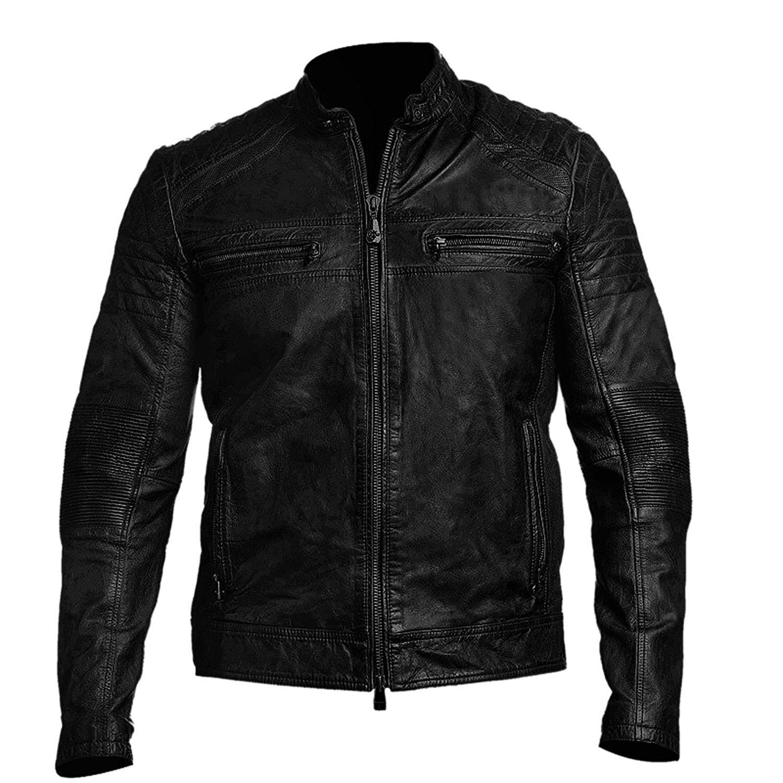 Cafe Racer Mens Biker Vintage Motorcycle Distressed Black Leather Jacket   Black Cafe Racer Jacket