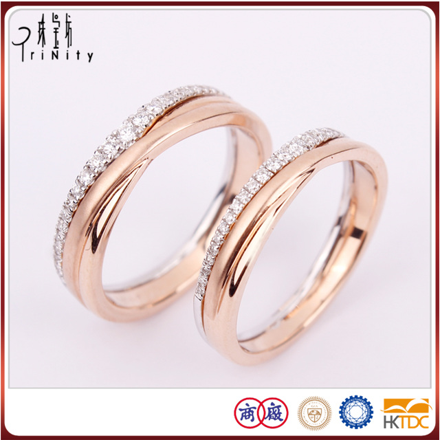 Hot Items 18K Filled Gold Diamond Wedding Band Rings Set Fine Jewelry Supplier