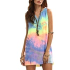 Women's Sleeveless V Neck Tie Dye Tunic Tops Casual Swing Tee Shirt Dress