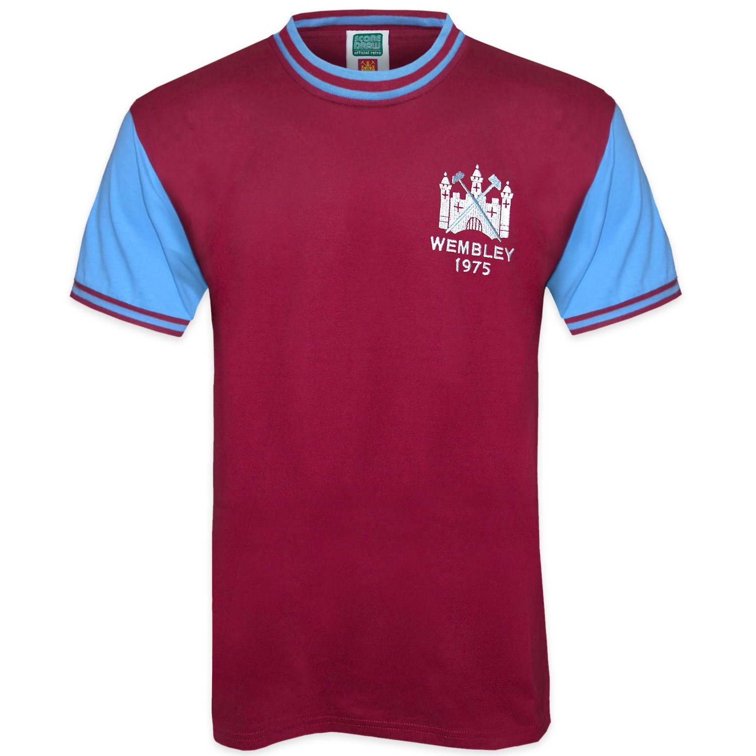 West Ham United FC Official Football Gift Mens 1975 FA Cup Retro Home Kit Shirt Soccer