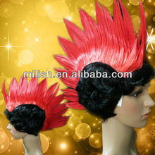MPW-1058 Party Cheap Mohawk Red&Black Punk Wigs for Halloween