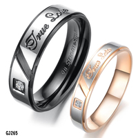 Fashion rose gold black stainless steel finger wedding couple lover ring