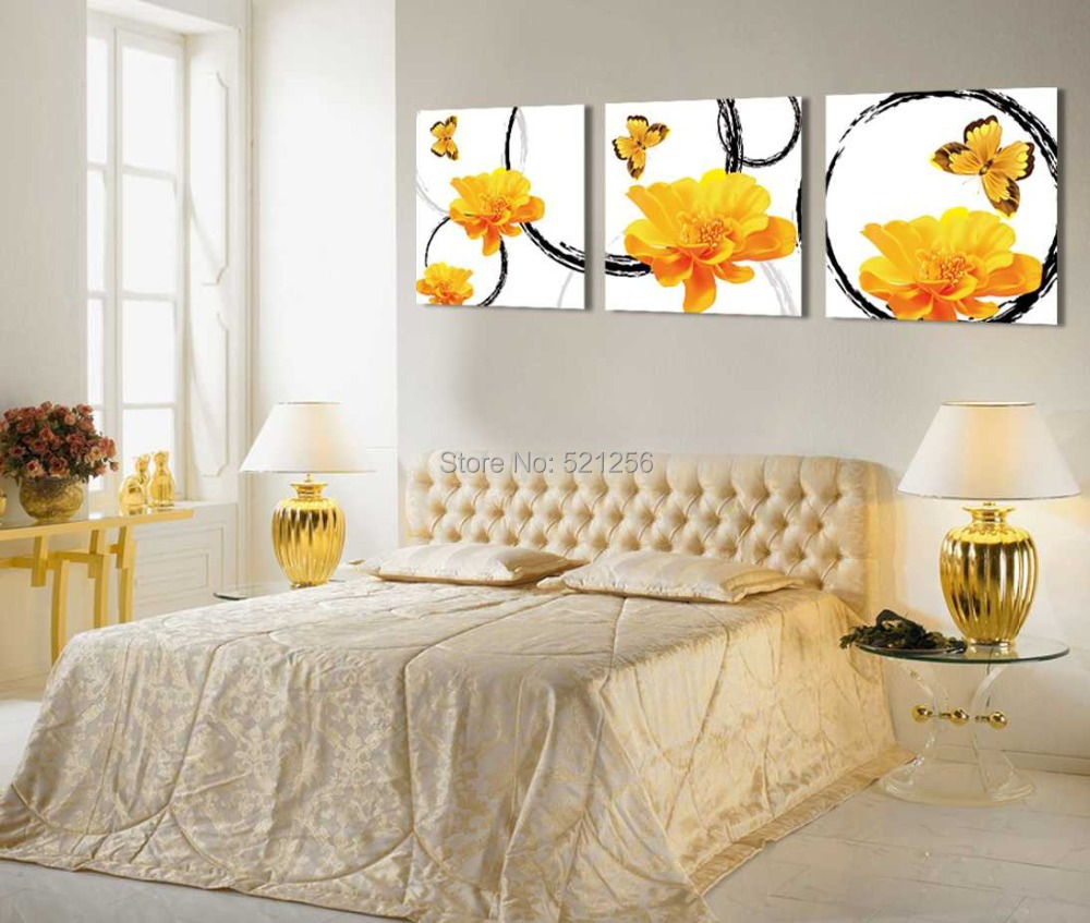 Modern Wall Art Home Decoration Printed Oil Painting Pictures Canvas Prints No Frame 3 Piece Winter Jasmine Butterflies Bedroom