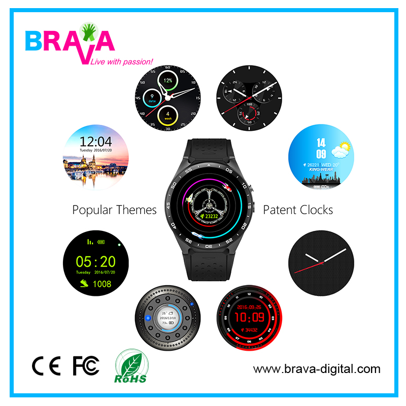 OEM Heart Rate Pedometer 3G Wifi Smart Watch 1Gb Ram Android 5.1OS