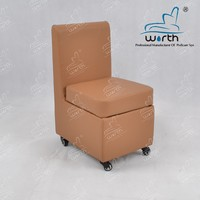 Brown PU leather cover straight backrest chair pedicure stool with wheels