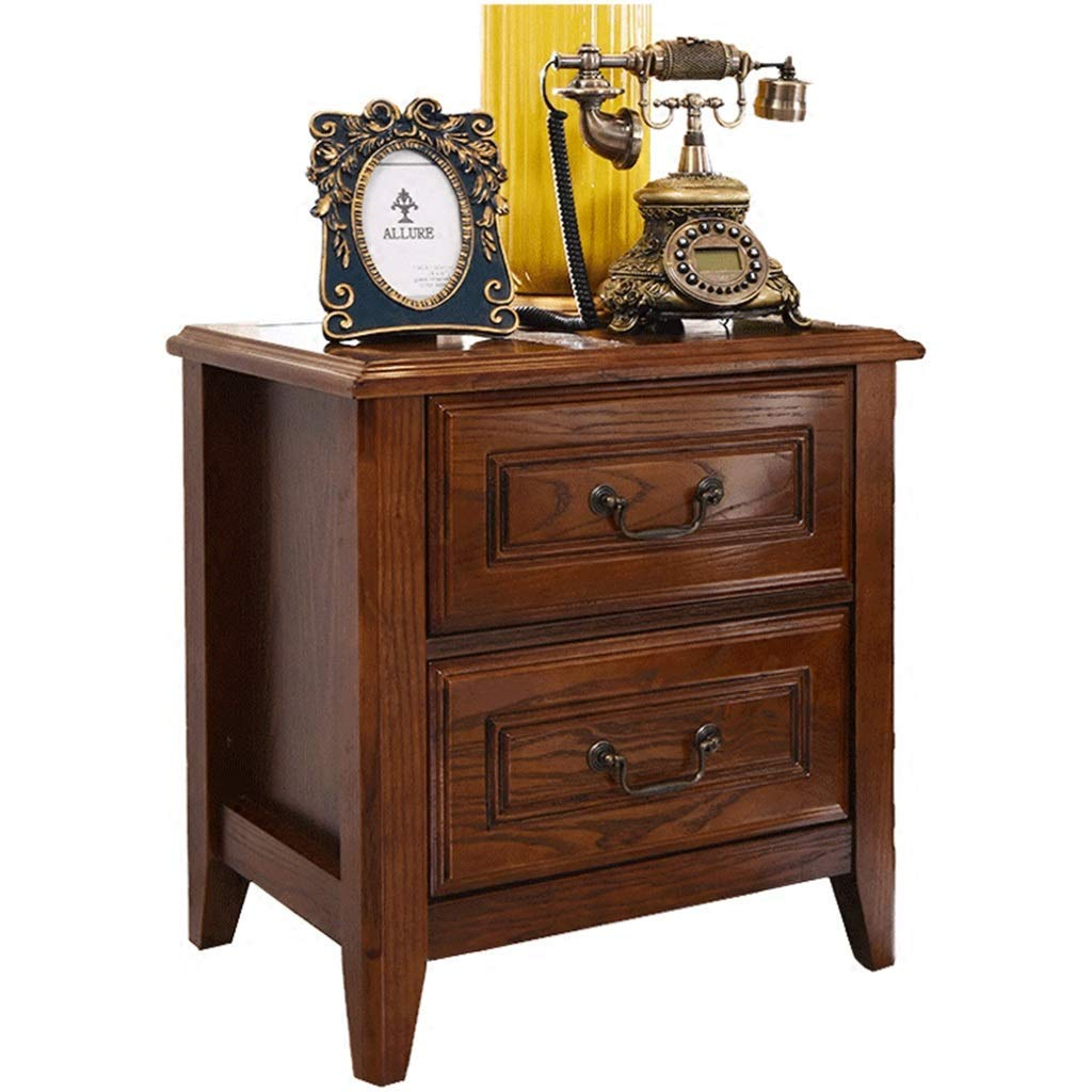 Nightstands Bedside Table Bedroom Home Solid Wood Bedside Cabinet Locker Bedroom Bedside Table Chinese Home Storage Cabinet Wild (Color : Walnut Color, Size : 533954cm)
