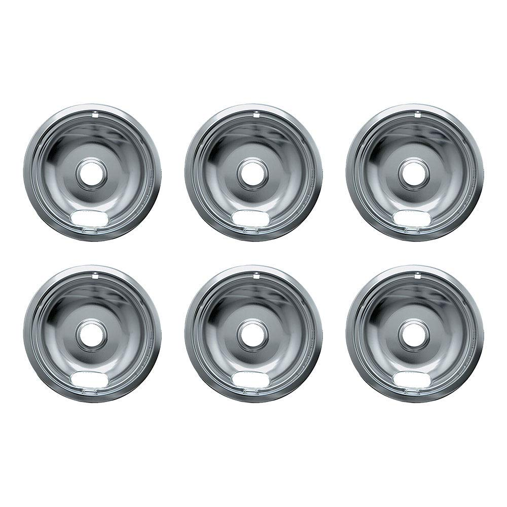 Range Kleen 102-AM 8 Inch Style A Series Chrome Range Stove Burner Drip Bowl Pan (6 Pack)