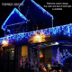 Toprex decor 3m Warm white Outdoor Winter Xmas LED Window Icicle Lights for Christmas roof eaves