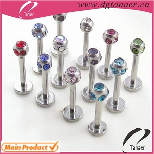 HOT sale stainless steel crystal lip ring wholesale multi jewellery labret