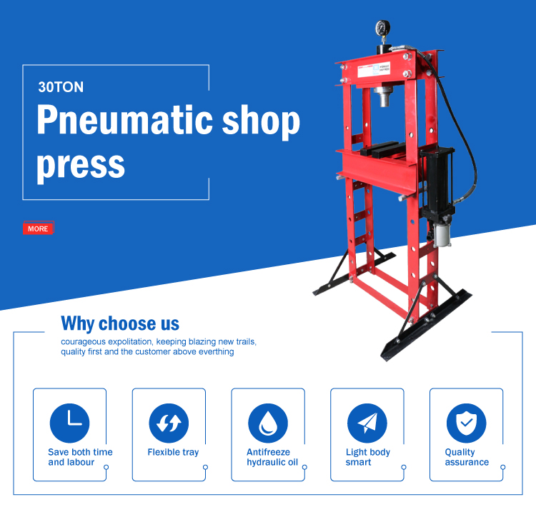 CE certificate vehicle tools 30 ton pneumatic workshop press for sale