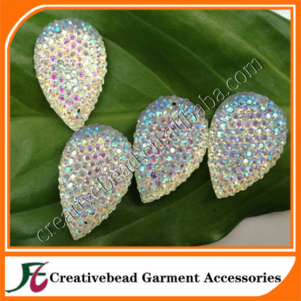 Sew on tear drop resin stone with dots resin diamond stone in rhinestones(crystal ab)wholesale