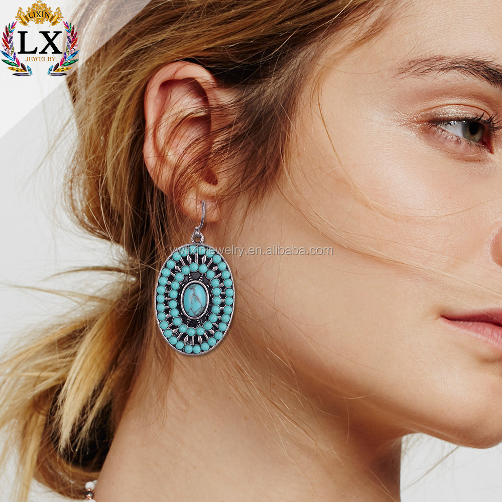 ELX-00399 fancy design charming free seed bead earring designs turquoise brass earring hook wholesale