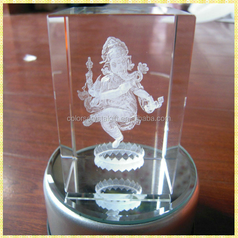 Personalized 3D Ganesh Laser Engraving Crystal Gifts For Wedding Return Souvenirs