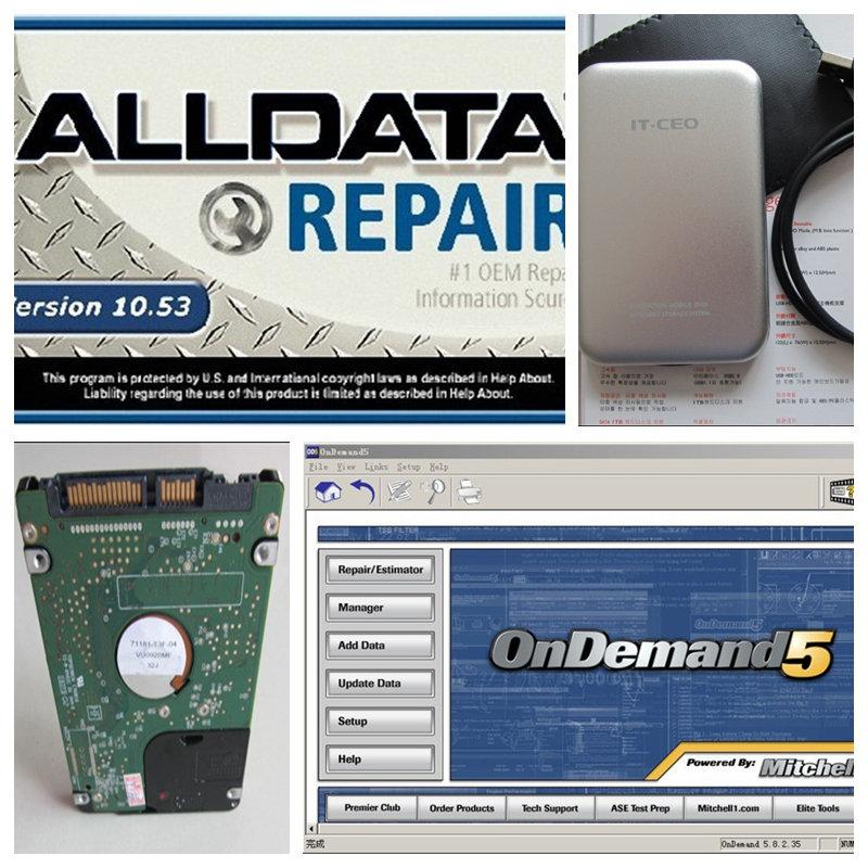 2016 горячей! Alldata 10.53 + 2015 митчелл и авто 3.38 750 г жесткий диск HDD автомобилей программное обеспечение приспосабливать все 32 и 64bit система