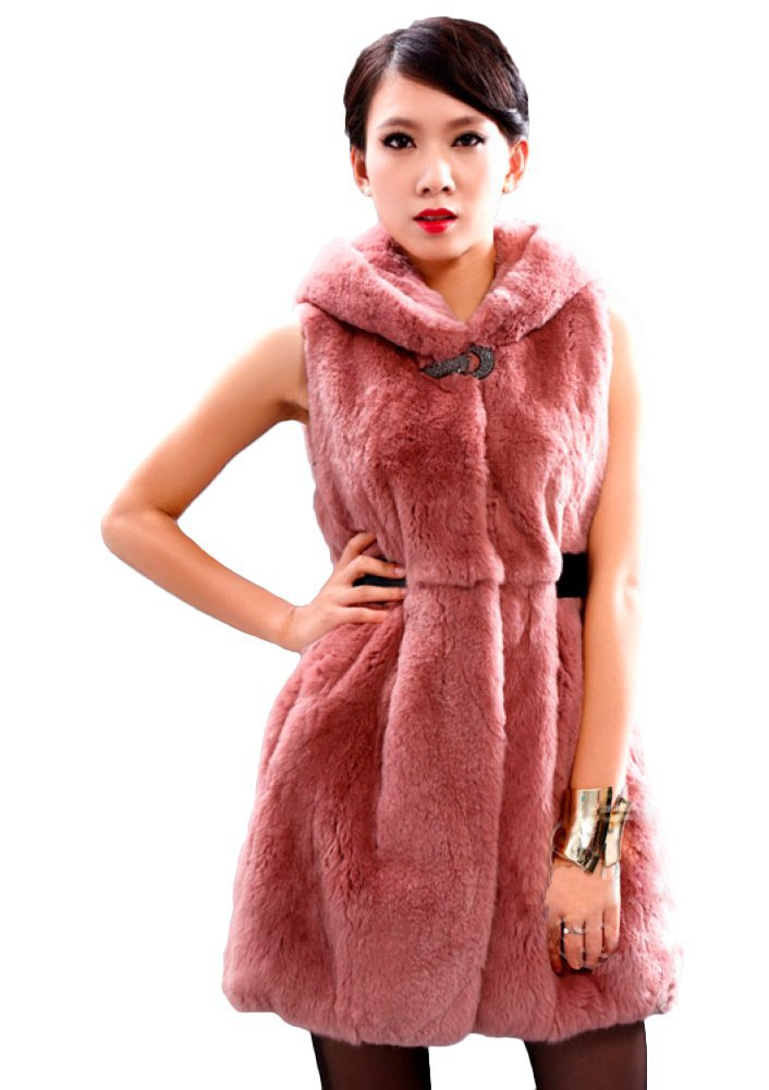 Queenshiny Long Women's 100% Real Rex Rabbit Fur Vest with Pigskin Belt with Hood