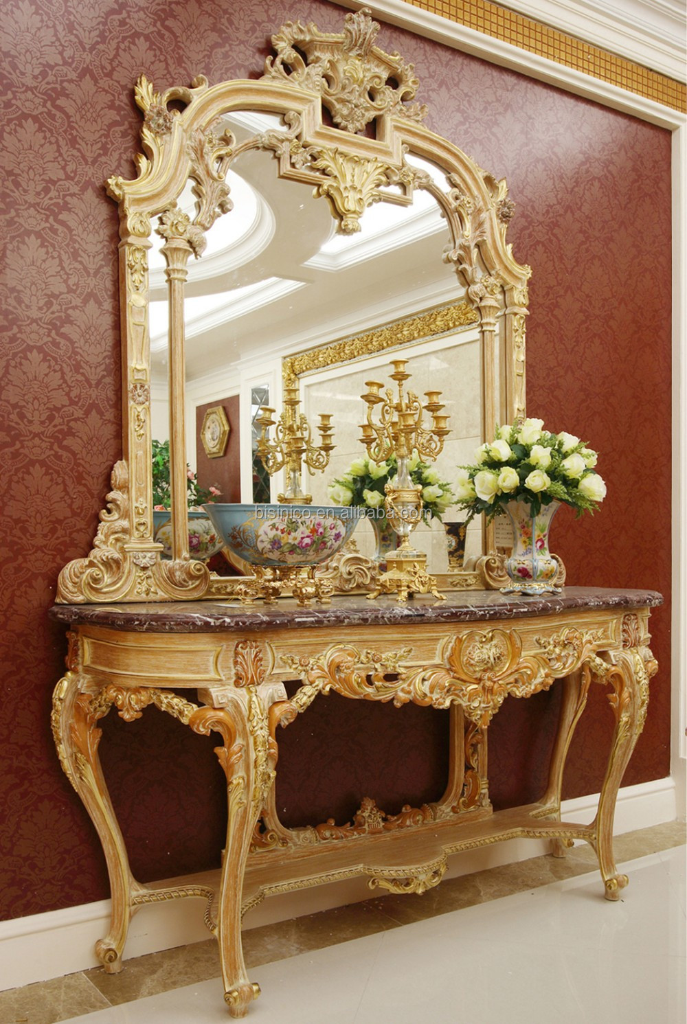 Luxury french louis xv style goldleaf console table for Console avec miroir