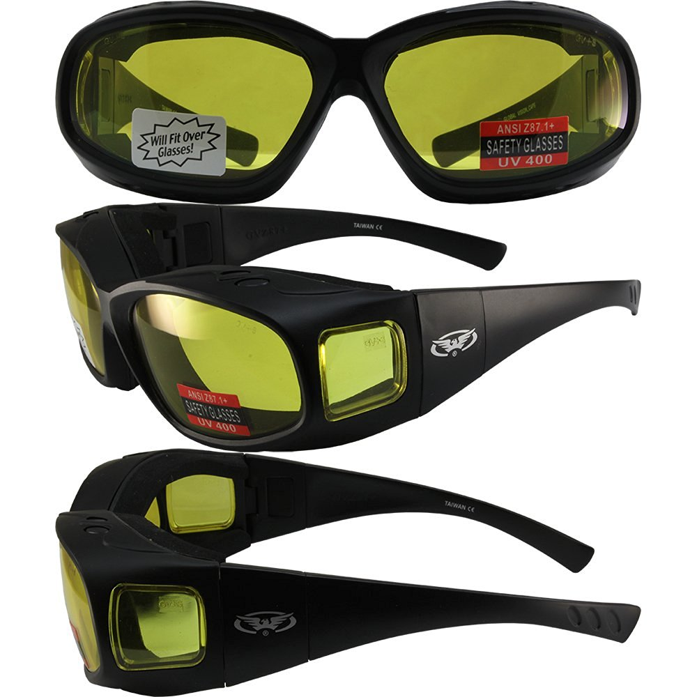 90210cd59079 Get Quotations · Global Vision Caps Padded Safety Sunglasses Fits Over-Prescription  Matte Black Frame with Yellow Lens