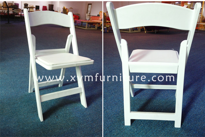 banquet used white wedding folding chairs with white padded