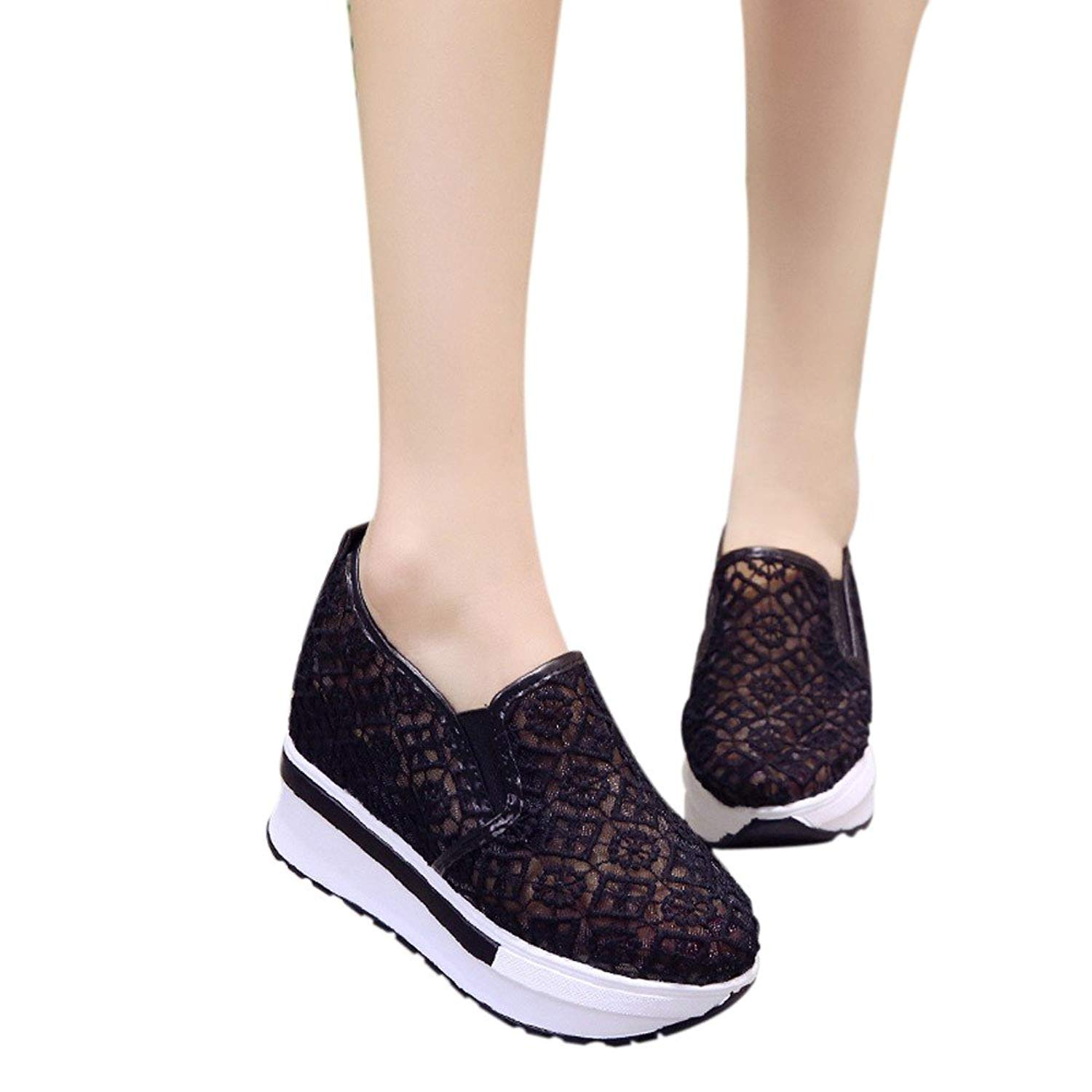 Shoes For Womens -Clearance Sale ,Farjing Increased Net Shoe Women Casual Shoes Breathable Mesh Slope Thick Platform Shoes