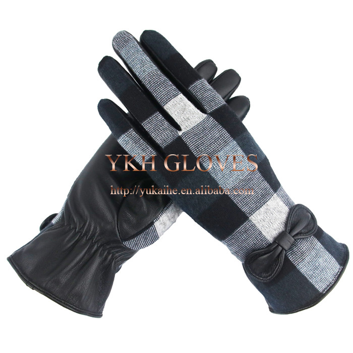 Silk Lining Wholesale Women Leather Hand Gloves