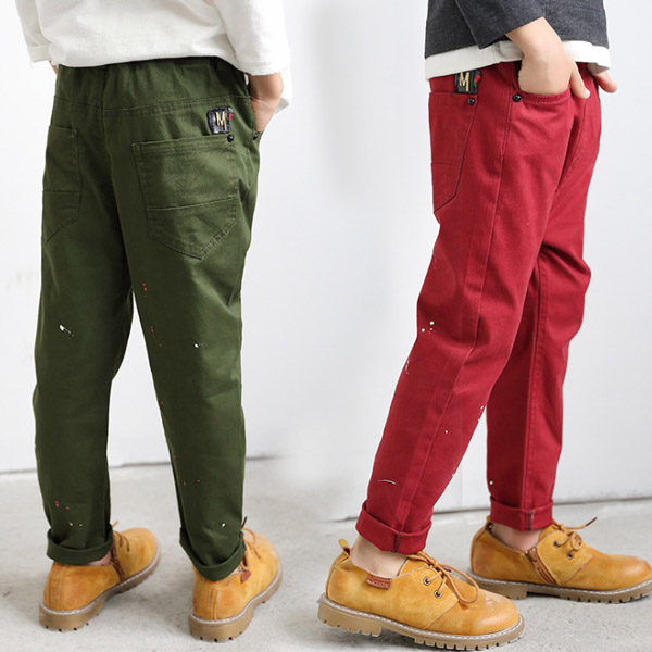 casual pants for children with paint points solid color trousers